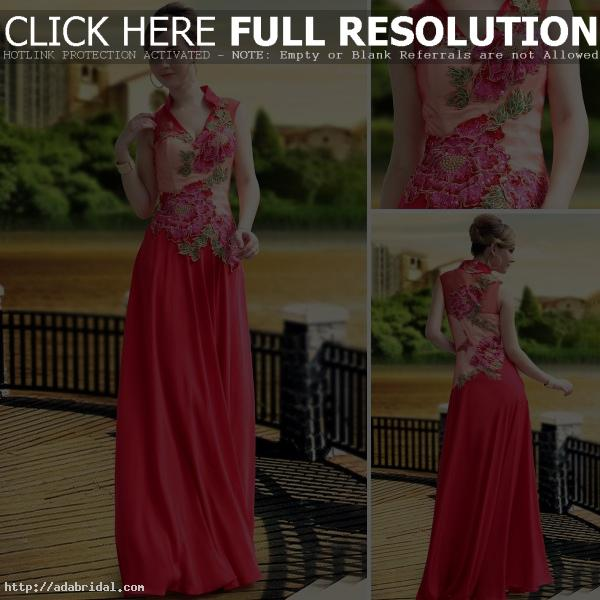 China Red High Collar Wedding Dress With Applique 30652