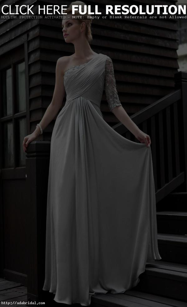e0c0b0d307a3 A-line Silver Grey long sleeves women dresses evening  30580